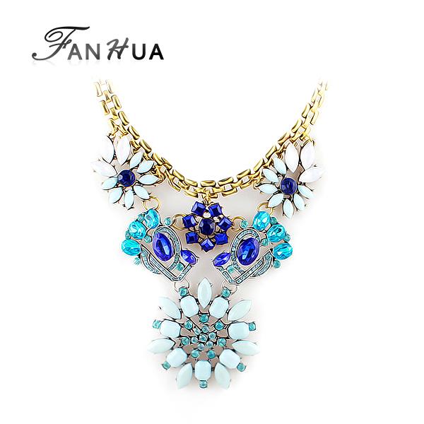 Imitation Gemstone Designer Jewelry Gold Color Alloy Chain Blue Flower Necklace Luxury Spring Trendy Bijoux(China (Mainland))