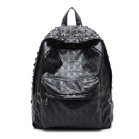 Hot sale casual women printing backpack punk leather men school bags fashion travel bag for teenage unisex