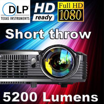 Amazing top quality 5200lumens 16000:1 HD 1080p shutter 3D projector best daylight portable multimedia short throw dlp projector