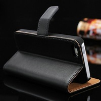 100PCS/LOT For iphone5 5s Luxury  Wallet  Leather Case   Flip With Stand + 2 Credit Card Holder  Free shipping