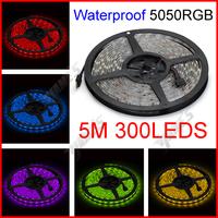 ( 10 reel/lot ) 5M/Reel 12V SMD 5050 RGB Waterproof Flexible LED Strip Lights 300 LEDs 60 LEDs/M Wholesale