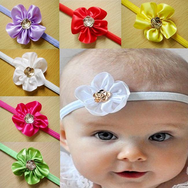 AHO138, 12pcs/lot, Terylene Floral Baby Headband Kids Hair Ornament Camellia Flower Headwrap Children Hair Accessories(China (Mainland))
