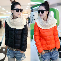 2013 Women down coat slim fashion fur collar belt knitted short design