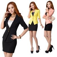 2014 spring and summer work wear women's skirt suit women's formal blazer set work wear for women plus size blazer set