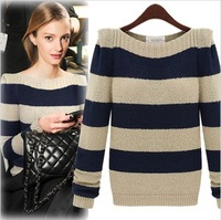2015 Winter New Women Fashion Flower Pullovers Warm high quality sweater striped wool autumn beige blue woman thick fashion new