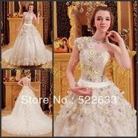 [High-Quality]Free Shipping Luxury Crystal Wedding Dress 2014 Plus Size Style 2705