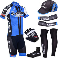 Free shipping cycling wear 2014 Blue Giant Cycling jersey BIBS SHORTS  Warmers cap and cycling gloves/ custom bike jersey