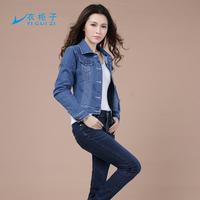 Free Shipping Spring And Autumn High Quality Water Wash Denim Outerwear Long Sleeve Women Denim Jacket Short Design 1194