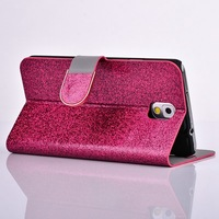 Note3 Bling PU leather card holder case for Samsung galaxy note 3 N9000 Flip cover mobile phone bags & cases