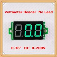 """Green  led Display Color [ 25 pieces / lot]Digital Voltmeter  Header No Lead dc 0-200V 0.36"""" 3 digit  Voltage Panel Meter"""