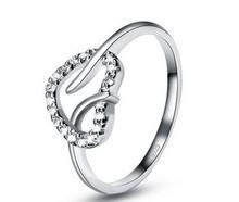 christmas passion honey 100 Real Pure 925 Sterling Silver Elegant Bride Wedding Ring female dia mond