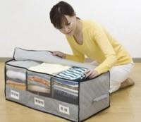 Free shipping, Bamboo Storage - with window, three grid clothing storage box