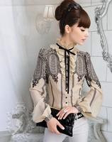 2014 hot fashion women vintage court lace print long sleeves chiffon shirt blouse slim elegant OL lady bowtie dress shirts