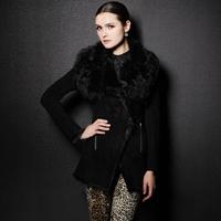 Fashion 2013 fur one piece women's outerwear wool medium-long genuine leather overcoat fur Desigual Free Shipping