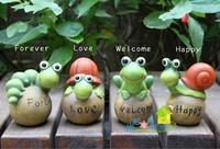 2014 New arrival  garden balcony garden decoration garden ornaments Small turtle ,snail, frog,Caterpillar  4 pieces a set