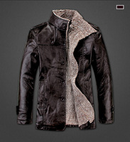 HOT!!!Winter warm motorcycle Leather jacket Men's Casual Brand Jacket luxury fur sheep leather men's Fur coat Free shipping