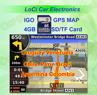 Free shipping! The latest 4GB SD/TF memory card with car IGO Primo GPS Navigator map for Argentina, Brazil, Chile, Colombia,Peru