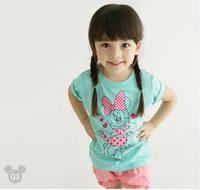 New arrival 2014 cotton t shirt short sleeve children outerwear nova kids children t shirts minnie mouse 5pcs/lot free shipping