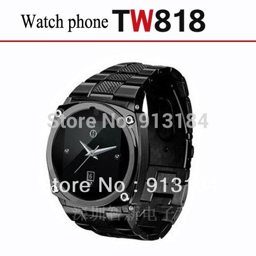 Tw818 quad band orologio cellulare con 1,5 pollici touch screen bluetooth e fotocamera funzione- di design in acciaio inox