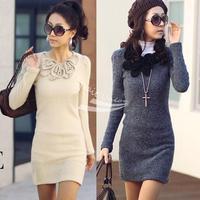 Holiday Sale New Fashion Mini Long Sleeve Butterfly Flower Fleece Woollen Sweater Short Skirt Dress free shopping