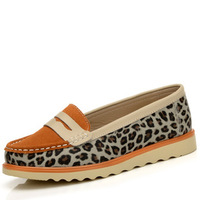 Double 2013 autumn flat heel single shoes leopard print women's shoes shallow mouth women's genuine leather shoes