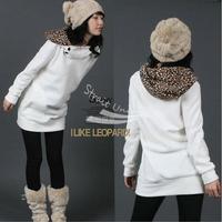 Womens Autumn Sweatshirts Hoodies Leopard Top Outerwear Parka Coats White/ Black Four Size free shipping