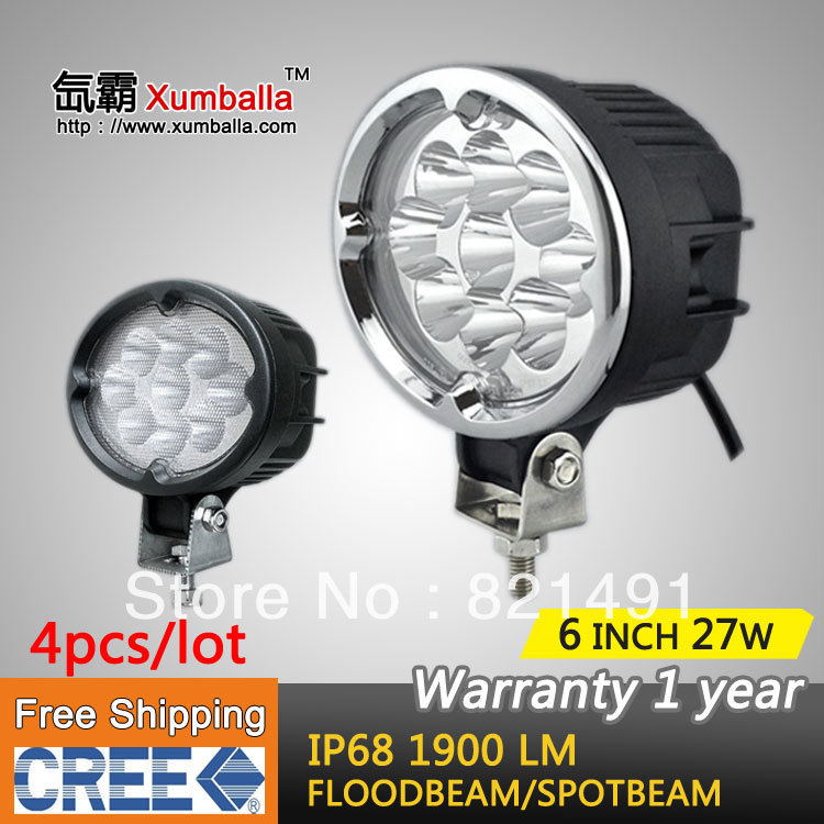FREE SHIPPING 4PCS 6 INCH 27W CREE LED WORK LIGHT PENCIL FLOOD BEAM 4x4 OFF ROAD LAMP ATV TRUCK BOAT MARINE12V24V IP68(China (Mainland))