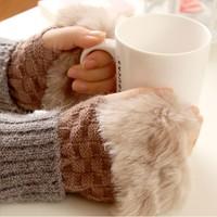 Free Shipping, Women's Rabbit Fur Hand Wrist Fingerless Gloves Warm Winter For Keyboard Gloves Mittens, Drop Shipping, SS0003