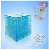 free shipping 2014 wholesale Novelty gift magic cube maze piggy bank saving box piggy bank lovers gift birthday gift