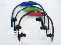 Earphone Sports MP3 WMA Music Player Wireless Handsfree Micro SD TF Card + FM radio function