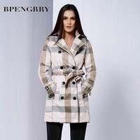 free shipping 2013 the new autumnBPENGRRY England wholesale manufacturers selling winter new large size women's high-end grid st