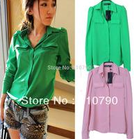 Free Shipping Cheap Korean Style Fall Clothes Fashion Green/Pink Long Sleeve Chiffon Blouse Shirt For Women 2014 Sale
