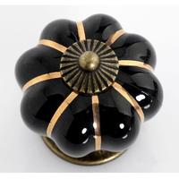 Cartoon Pumpkin Handle Cabinet Cupboard Drawer Ceramic Knob Pulls Black Solid MBS007-1