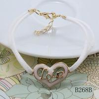 minimum order $10 new fashion leather heart bracelet bracelet faith love hope bracelet for women 2014 cheap party jewelry