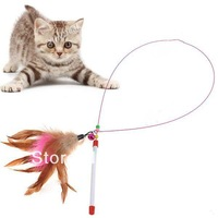 New!Colorful Feather Design Tease Cat Stick Cat Catcher Teaser Toy - Color Assorted