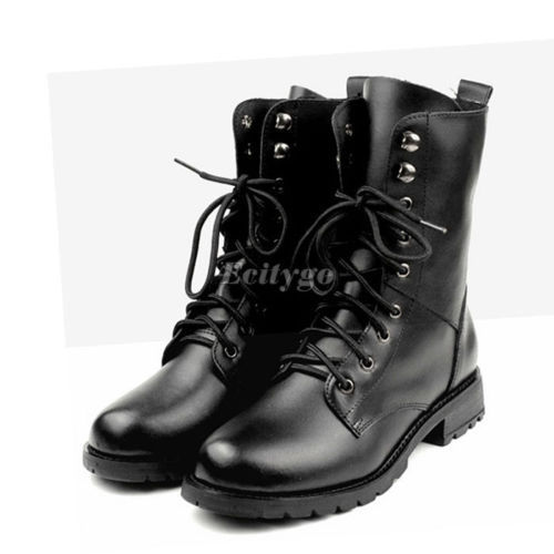 2014 Fashion Winter Woman Ladies Motorcycle Boots Vintage Combat Army Punk Goth Ankle Shoes Women Biker PU Leather Short Boots(China (Mainland))