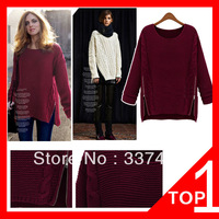 2013 Paragraphs In Europe And The Star Side Zippers Round Collar Loose Woman With Thick Knit Female Pullovers