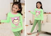 Brand New Lovely Cartoon Pajamas Sets for Girls kids Child Sleepwear Underwear Clothing Set Blue Green