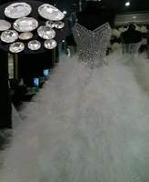 2014 Real Sample Puffy Luxury Corset With Crystal Beads Pleated Ball Gown Wedding Dresses Bridal Gowns Organza VC-123