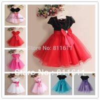 Baby Girls Dress 9M-36M 5Pcs 8Colour  Children Red Christmas Dress Big Bowknot Voile Dress Bling Bling Shining Free Shipping