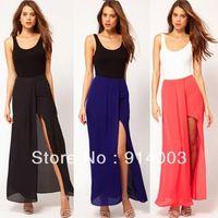 Retro Womens Solid Chiffon Long Maxi Skirt Layered Open Side Split Dress Summer Free Shipping