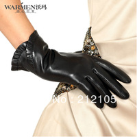 Free Shipping !! Fashion leather gloves women's thermal warm fashion short design laciness sheepskin goat leather gloves