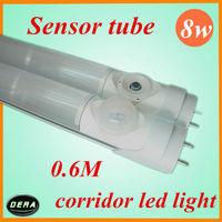 Free shipping 4pcs 8W T8 led sensor tube Human sensor led tube 650-850lm 85-265v led tube 600mm Body IR induction sensor light