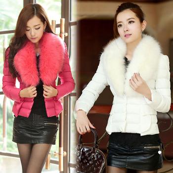 holesale 2013 New Hot Lady Women Trendy Elegant   Luxury Furs Collar Slim Down Cotton Jacket Warm Winter Short paragraph Jacket