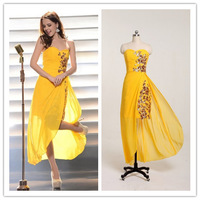 Fashion Sexy  sweetheart yellow chiffon sequined long party prom evening dresses 2014