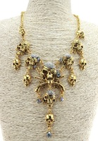 New Arrival Vintage Gold/Silver Metal Cool Rhinestone Skull Pendant Necklace For Women 2014 Statement Chunky Necklace
