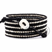 free shipping!! Neutral style lovers style black leather black cotton twine wrapped together Bead Bracelet hand-woven bracelets