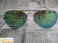Free Shipping fashion Sunglasses Women Men Metal Aviator Sunglasses Mirror Lens With Box