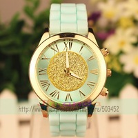 100pcs/lot Fashion Geneva Brand Silicone Watch Roman Design Ladies Dress Quartz Watch 3Colors For Option