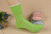 Small fresh 2013 roll up hem woven pattern autumn 100% cotton socks knee-high roll up